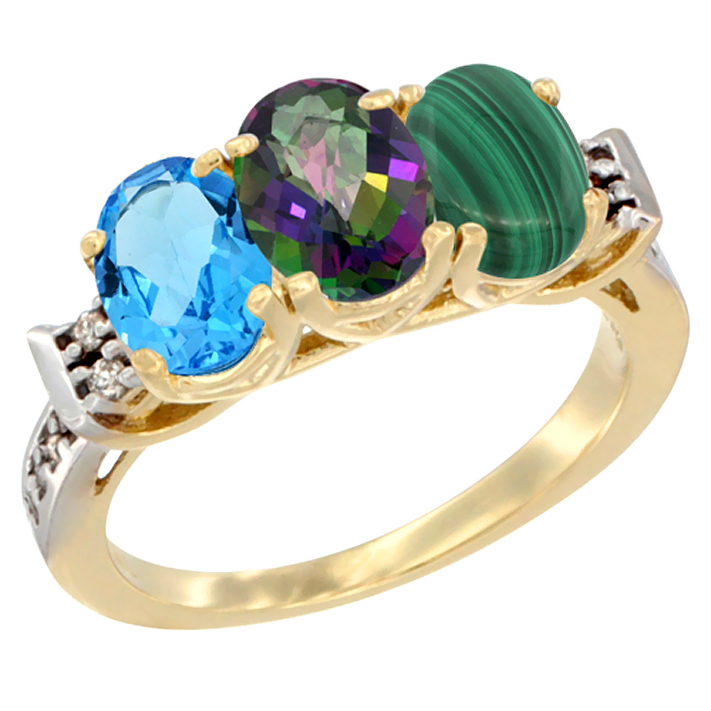 10K Yellow Gold Natural Swiss Blue Topaz, Mystic Topaz & Malachite Ring 3-Stone Oval 7x5 mm Diamond Accent, sizes 5 10 by WorldJewels
