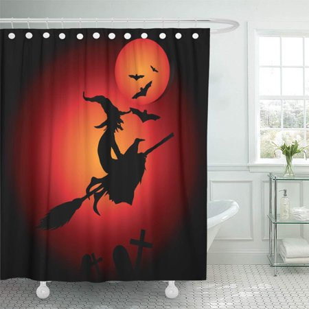 PKNMT Red Broomstick Halloween Witch Moon Bats Black Cartoon Celebration Character Bathroom Shower Curtains 60x72 inch - Halloween Broomstick