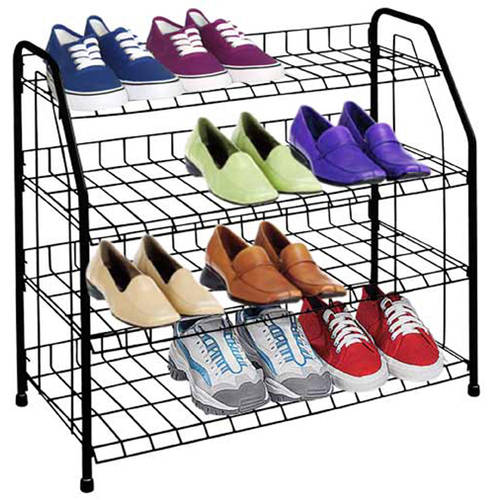 Sunbeam 4 Tier, 12 Pair Shoe Rack Shelf in Black