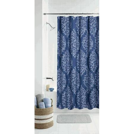 Mainstays Leaf Damask Coordinating Shower Curtain (Tan Damask Shower Curtain)