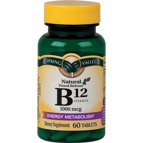 Spring Valley Natural Timed Release Vitamin B12 Tablets, 1000mcg, 60 count