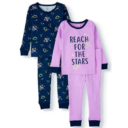 Wonder Nation Toddler Girl Long Sleeve Cotton Snug Fit Pajamas, 4Pc