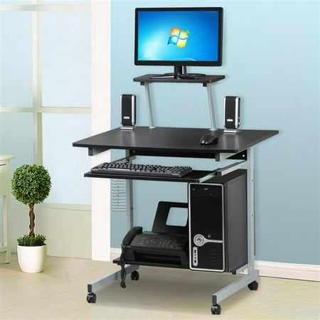 Yaheetech Mobile Computer Desks with Keyboard Tray, Printer Shelf and Monitor Stand Small Space Home Office Furniture Table Workstation Desk Student Dorm Office (Black) ()
