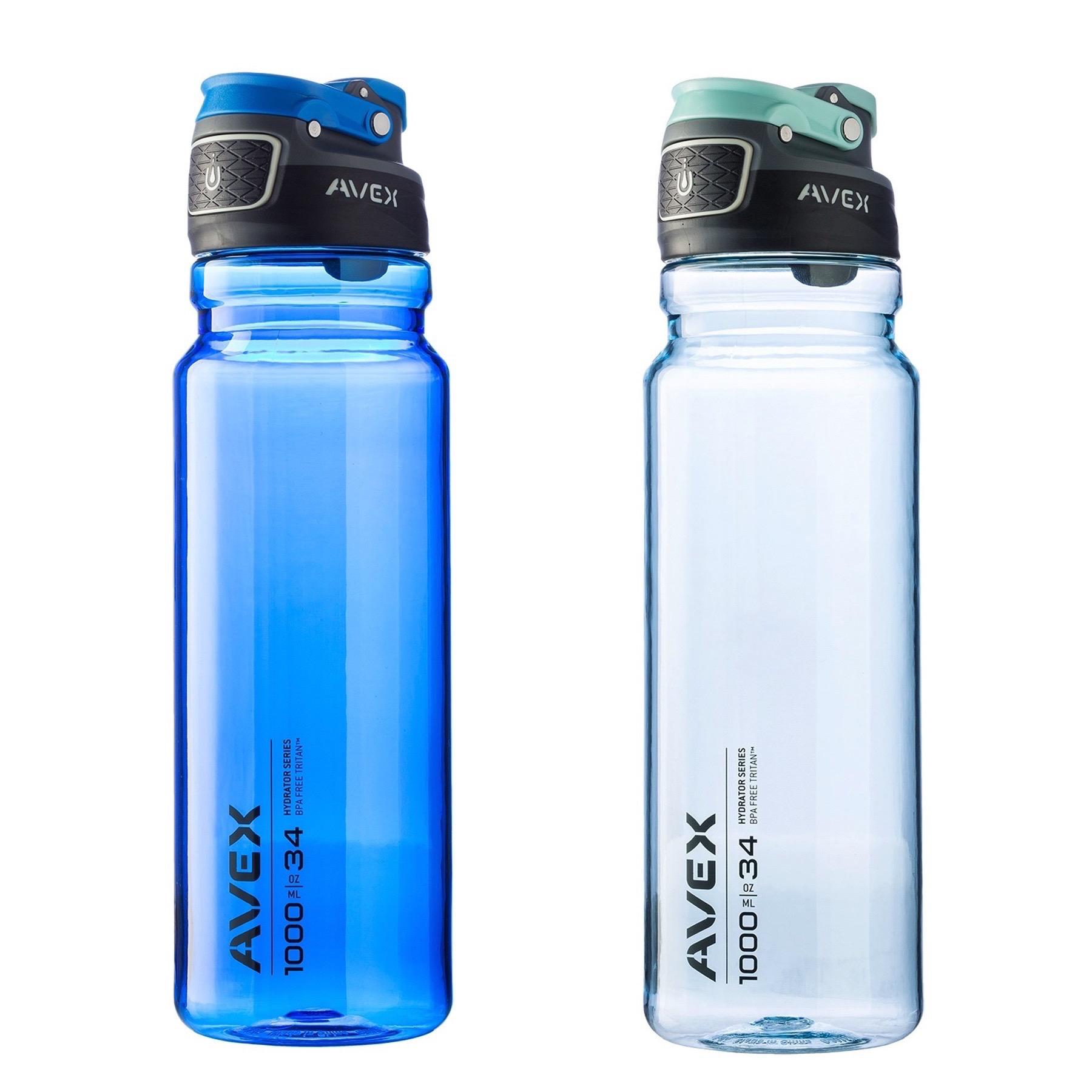 Avex FreeFlow Autoseal 34oz Plastic Water Bottle Combo Kit Ocean Blue & Ice Blue