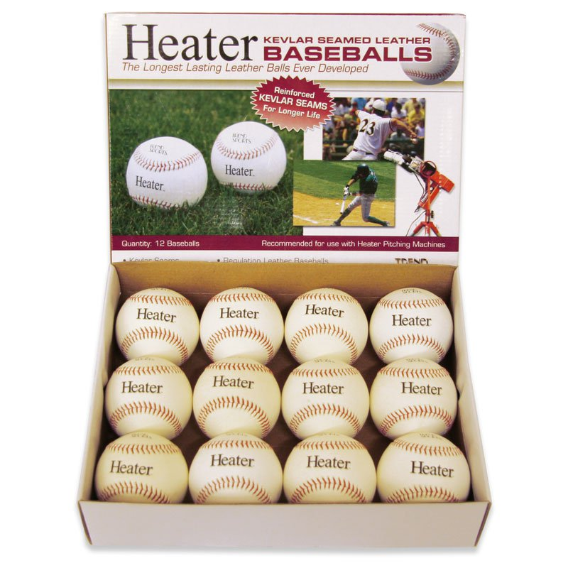 Heater Sports Leather Pitching Machine Baseballs - 1 Dozen
