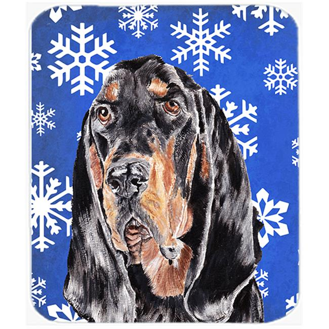 7.75 x 9.25 in. Coonhound Blue Snowflake Winter Mouse Pad, Hot Pad or Trivet