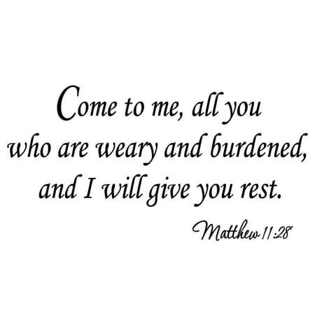 VWAQ Come to Me All You Who Are Weary and Burdened and I Will Give You Rest Matthew 11:28 Christian Wall Decals Bible Scripture Lettering Vinyl Wall Art Quotes Scripture Stickers - Christian Halloween Quotes