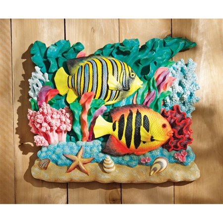 Design Toscano The Great Barrier Reef Fish Wall Sculpture: Royal Angelfish
