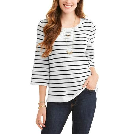 Rhinestone Trim Sweater - Women's Striped Scallop Trim Sweater