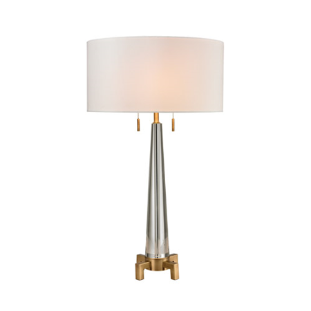 Table Lamps 2 Light With Clear and Aged Brass Crystal and Metal Medium Base 30 inch 120 (Clear Metal)