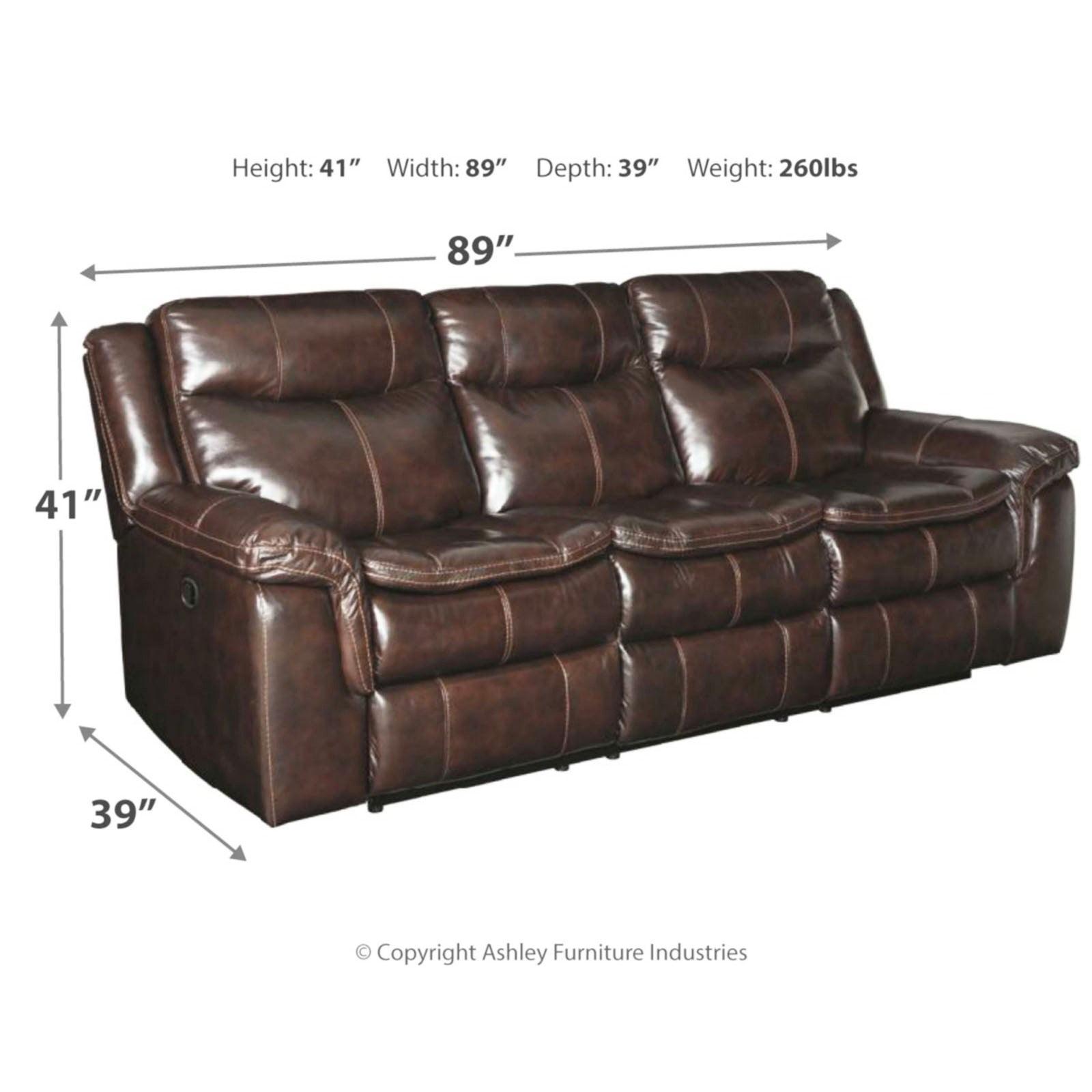 Ashley Furniture Lockesburg Leather Power Reclining Sofa In Canyon Walmart Com Walmart Com
