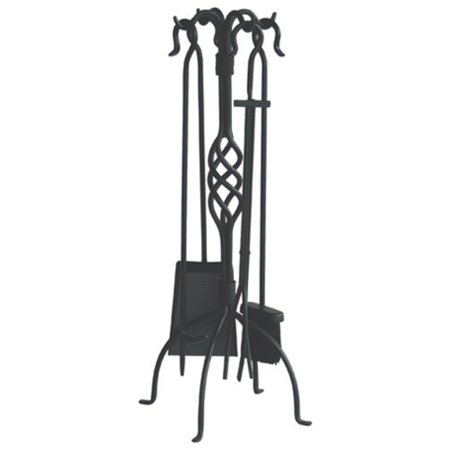 Uniflame Wrought Iron Fireplace Tool Set, Black Finish, 5-Piece