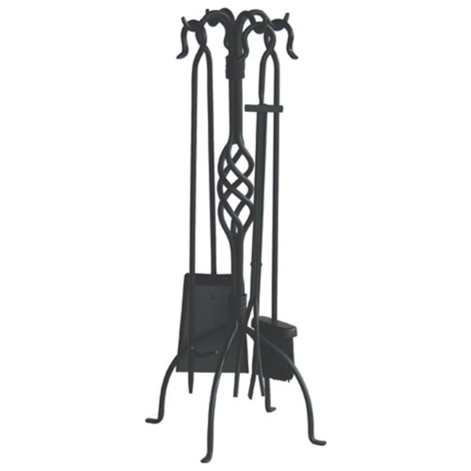 Uniflame Wrought Iron Fireplace Tool Set, Black Finish, 5-Piece ...