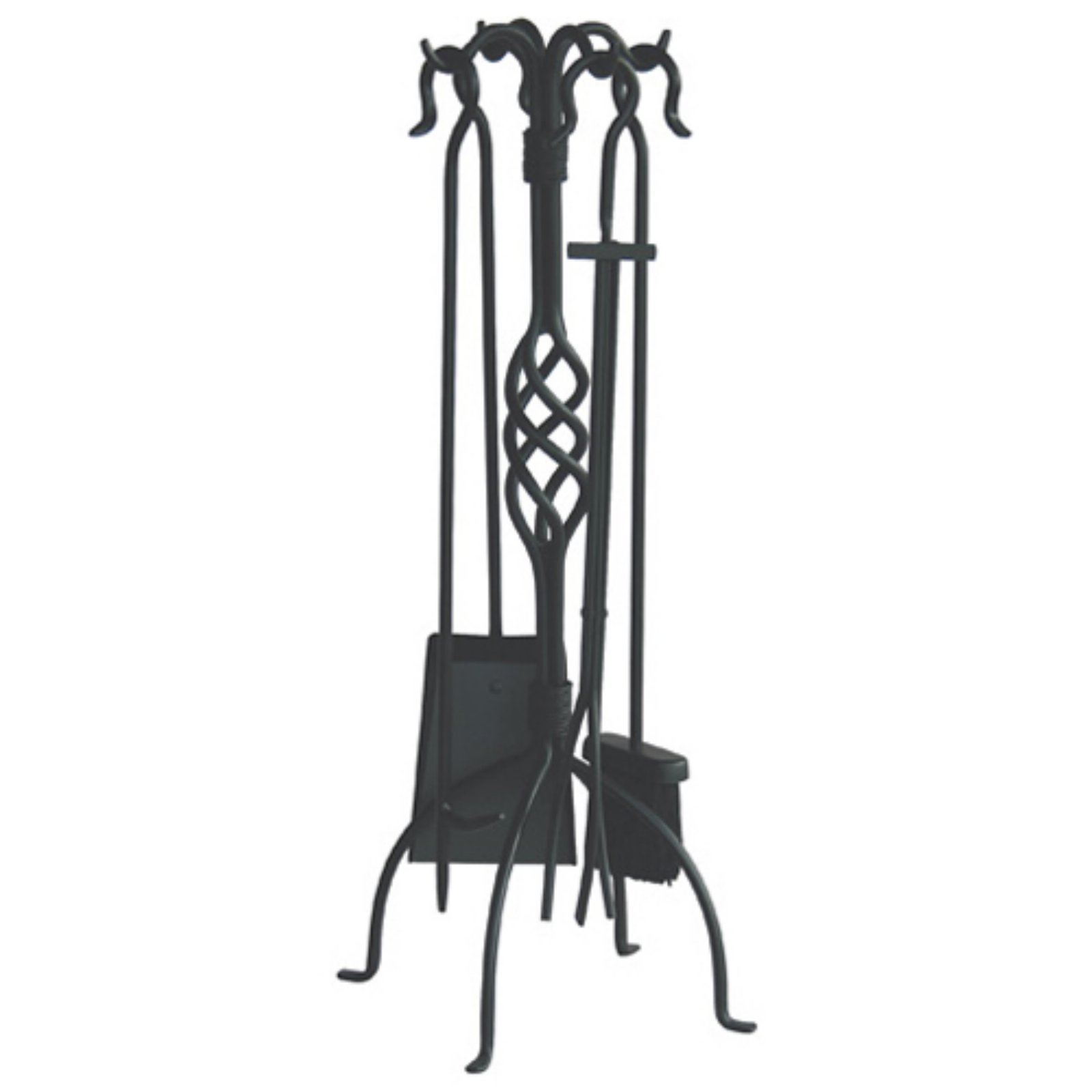 Uniflame Wrought Iron Fireplace Tool Set Black Finish 5 Piece