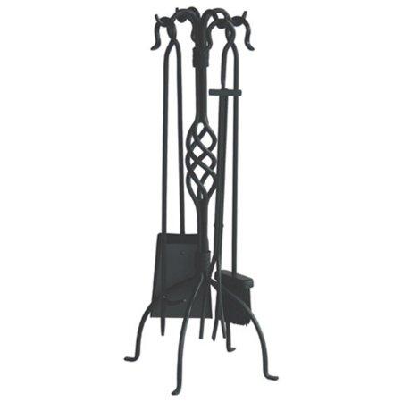 Uniflame Wrought Iron Fireplace Tool Set, Black Finish, 5-Piece ()