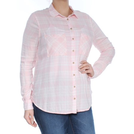POLLY & ESTHER Womens Pink Plaid Cuffed Collared Button Up Top Plus  Size: L