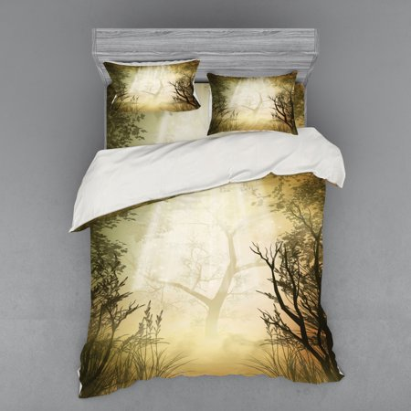 Mystic Forest Duvet Cover Set, Misty Mystical Spot Deep down in the Woodlands Sunbeams, Bedding Set with Shams and Fitted Sheet, 3 Sizes, by Ambesonne