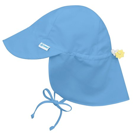 Iplay Flap Sun Hat for Baby Boys Sun Protection Large Billed Hat- Solid Light Blue-Infant 9-18 Months Baby Boy Hat Is Adjustable To Fit Outdoor Hat With Chin Strap and Neck Flap; Pool Beach Swim