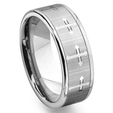 - Tungsten Carbide Men's Wedding Band Ring (7.5mm) with Cross Design Sz 10