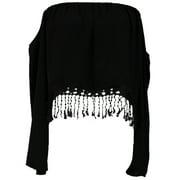Cotton Candy USA Off Shoulder Crop Blouse With Bottom Fringe Crochet Detail