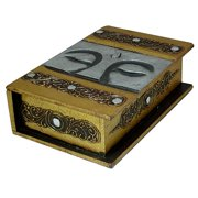 Stoneage Arts Hand-carved Buddha Eyes 10-inch Book-style Decorative Box, Handmade in Indonesia