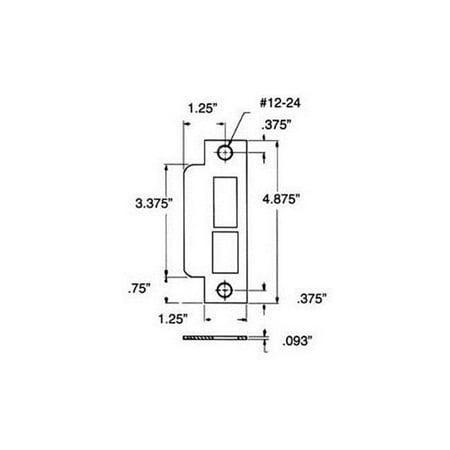 Baldwin 6040150 Estate-Parts Satin Nickel Strike Plate -