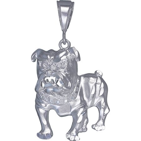 Sterling Silver Bulldog Charm Pendant Necklace with Diamond Cut Finish and 24 Inch Figaro Chain