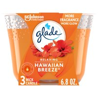 Glade 3-Wick Candle 1 CT, Hawaiian Breeze, 6.8 OZ. Total, Air Freshener, Wax Infused with Essential Oils