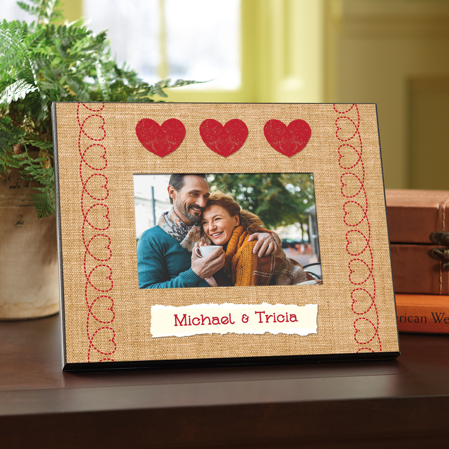 Personalized Burlap Hearts Frame