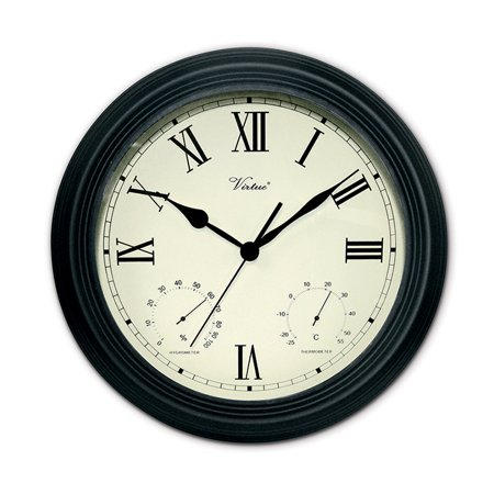 """12"""" Battery Operated Black Large Print Roman Numeral Outdoor Clock, Thermometer and Hygrometer"""