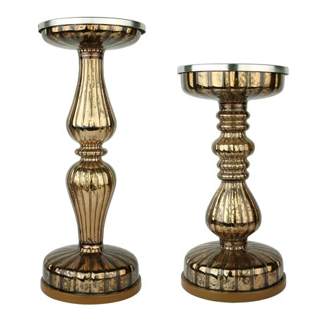 S/2 Lit Pillar Candle Holder, - Handmade Mercury Glass Candle Holder Pedestals - Great Decor Accessories - Candle Centerpiece Holders with Micro LED Lights for Home Decor - Coffee ()