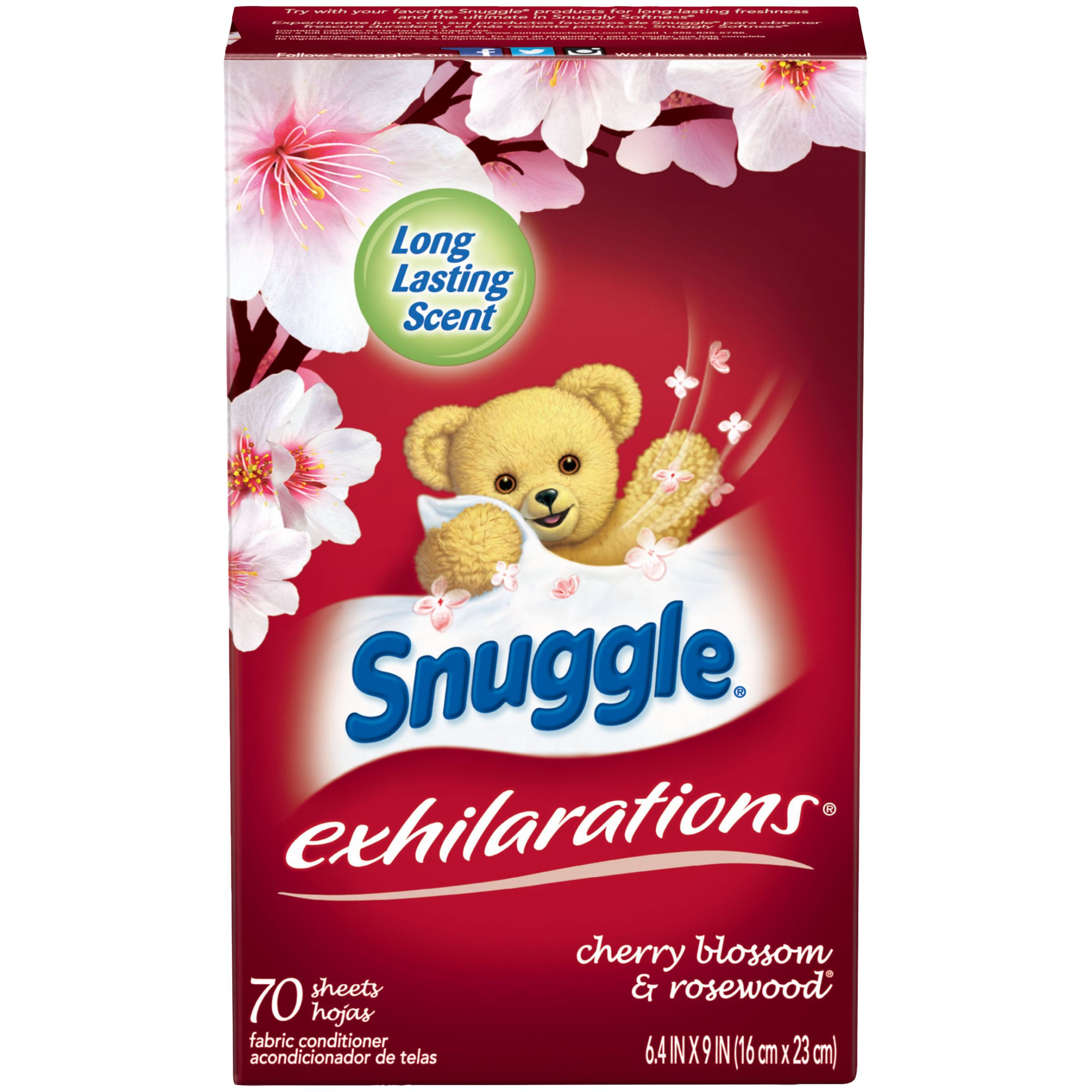 Snuggle Exhilarations Dryer Sheets, Cherry Blossom & Rosewood, 70 Count