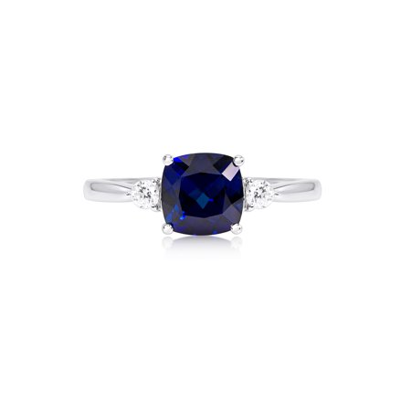 14k White Gold Created Blue Sapphire and Cubic Zirconia Accented Ring