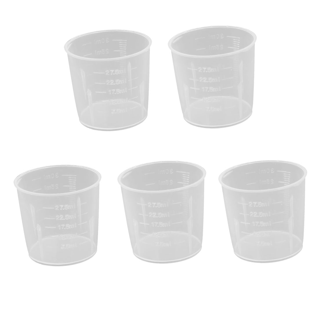 30mL PP Volumetric Measuring Cup Container Laboratory Beaker Clear 5pcs by Unique-Bargains