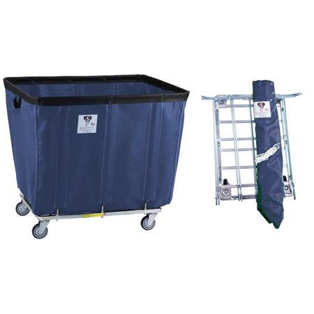 R&B Wire Products 406KDC-ANTI-NVY 6 Bushel UPS & FEDEX ABLE Antimicrobial Vinyl Basket Truck All Swivel Casters, Navy - 31 x 21 x 26.5 in.