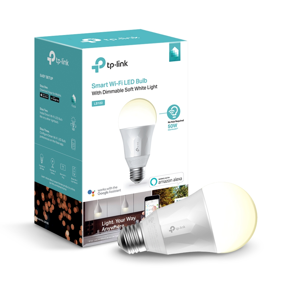 TP-Link LB100 Dimmable White Smart A19 Light Bulb, 50W Equivalent, No Hub Required