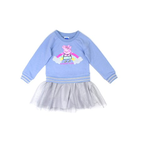 French Terry Top & Tulle Skirt Dress (Toddler Girls)