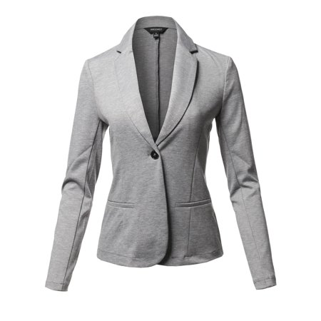 Buttoned Blazer - FashionOutfit Women's Solid Formal Single Button Up Long Sleeve Blazer Jacket