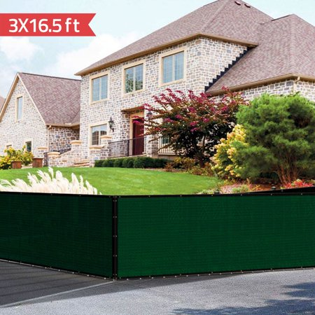 Mllieroo 3' x 16.4' Solid Commercial Privacy Fence Screen Outdoor Backyard Shade Windscreen GSM 90% Blockage,Dark Green