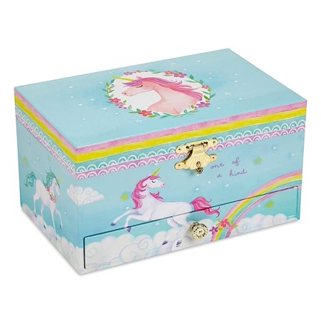 - Girl's Musical Jewelry Storage Box with Pullout Drawer, Rainbow Unicorn Design,The Unicorn Tune