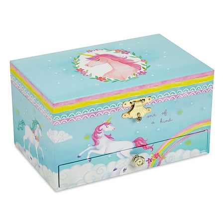 Girl's Musical Jewelry Storage Box with Pullout Drawer, Rainbow Unicorn Design,The Unicorn Tune (Puppy Musical Jewelry Box)