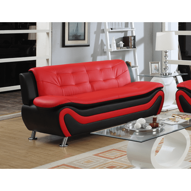 Frady Black And Red Faux Leather Modern, Red Faux Leather Sofa And Loveseat