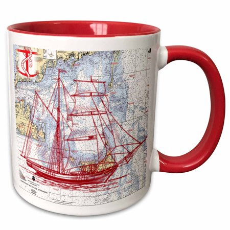 3dRose Print of Nantucket Sound With Red Sailboat - Two Tone Red Mug, - Two Tone Sailboat