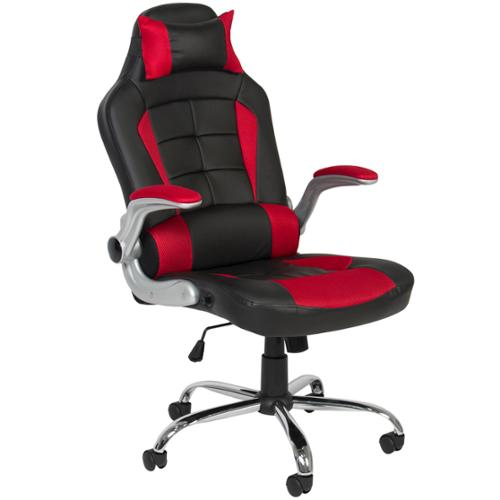 BCP Deluxe Ergonomic Racing Style PU Leather Office Chair Swivel High Back Red