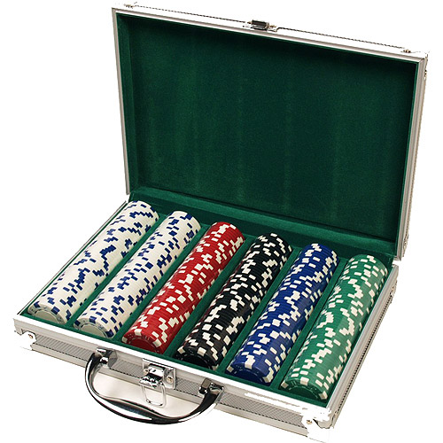 Classic Games Collection Poker Chip Case With 300 Casino-Weight Chips, Felt-Lined Attache