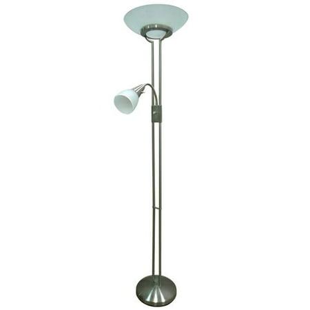 Bhg duo tall floor lamp brushed nickel walmartcom for Better homes and garden floor lamp combo antique nickel