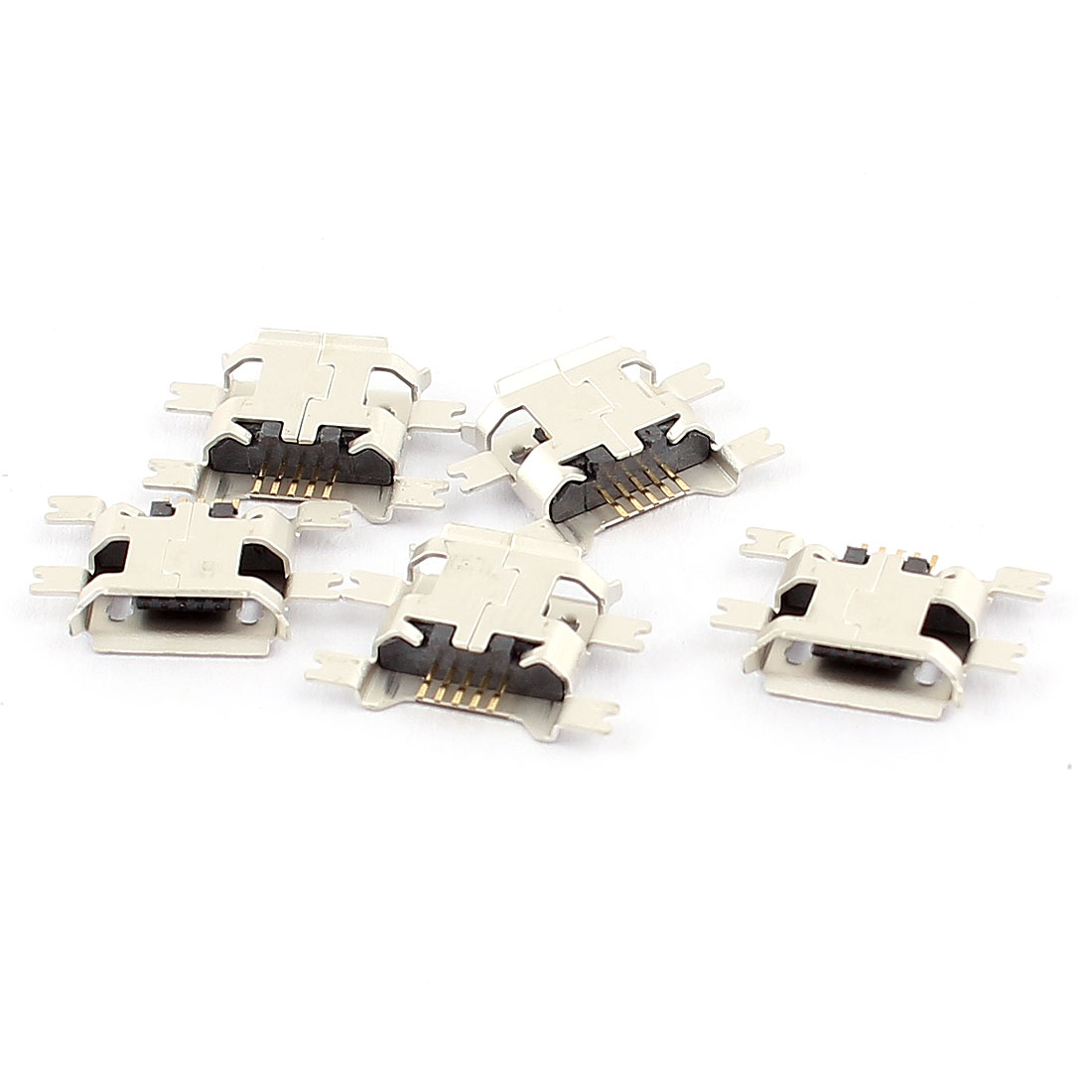 5pcs Micro Usb Female Socket 180 Degree 5 Pin Smd Smt Jack Solder Wiring Connector