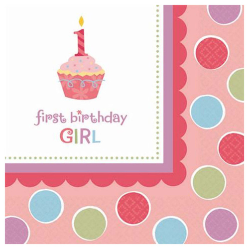 1st Birthday 'Sweet Lil' Cupcake Girl' Lunch Napkins (36ct)