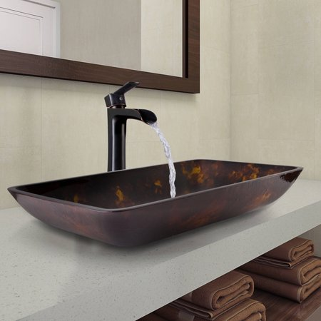 Vigo Rectangular Brown and Gold Fusion Glass Vessel Bathroom Sink and Niko Faucet Set in Antique Rubbed Bronze Finish