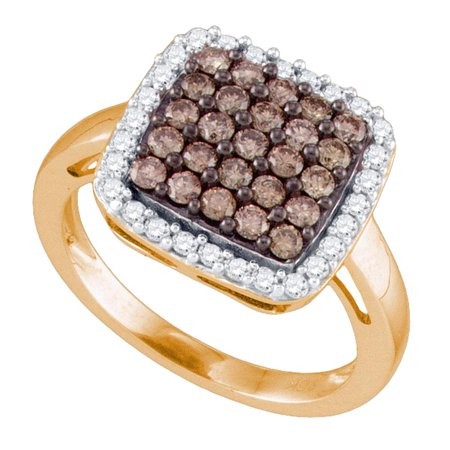 10kt Rose Gold Womens Round Cognac-brown Color Enhanced Diamond Square Cluster Ring 1.00 Cttw